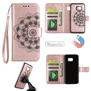 Mandala PU kožené pouzdro na Samsung Galaxy S7 Edge - růžovozlaté - 1