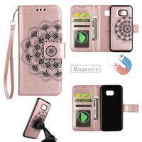 Mandala PU kožené pouzdro na Samsung Galaxy S7 Edge - růžovozlaté - 1/3