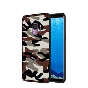 Camouflage hybridní odolný obal na Samsung Galaxy S9 - tmavě hnědý - 1