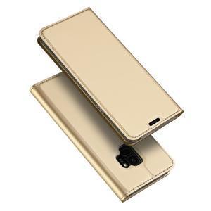 DUX Luxury PU kožené pouzdro na Samsung Galaxy S9 - zlaté - 1