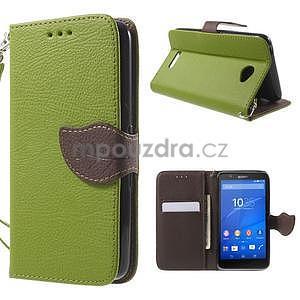 PU kožené lístkové pouzdro pro Sony Xperia E4 - zelené - 1