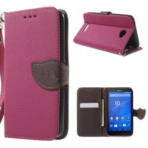PU kožené lístkové pouzdro pro Sony Xperia E4 - rose - 1