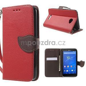 PU kožené lístkové pouzdro pro Sony Xperia E4 - červené - 1