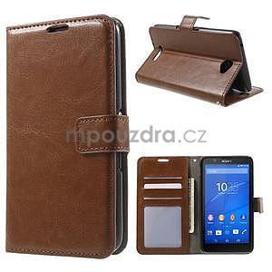 PU kožené peněženkové pouzdro na mobil Sony Xperia E4 - hnědé - 1