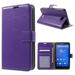 PU kožené peněženkové pouzdro na mobil Sony Xperia E4 - fialové - 1