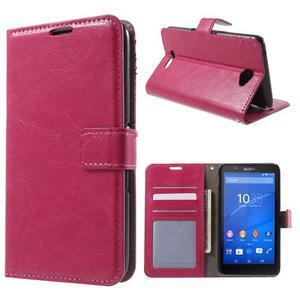 PU kožené peněženkové pouzdro na mobil Sony Xperia E4 - rose - 1