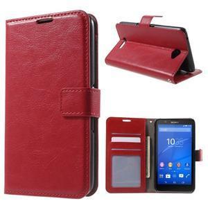 PU kožené pěněženkové pouzdro na mobil Sony Xperia E4 - červené - 1