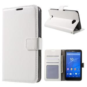 PU kožené peněženkové pouzdro na mobil Sony Xperia E4 - bílé - 1