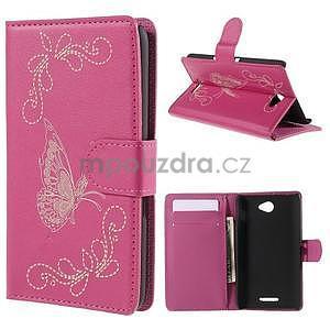 Peněženkové pouzdro s motýlkem na Sony Xperia E4 - rose - 1