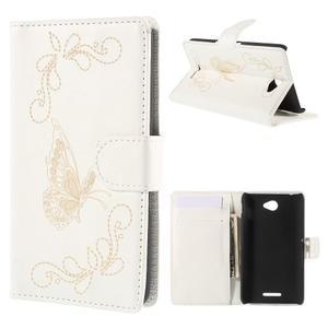 Peněženkové pouzdro s motýlkem na Sony Xperia E4 - bílé - 1