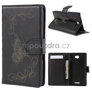 Peněženkové pouzdro s motýlkem na Sony Xperia E4 - černé - 1
