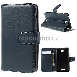 Peněženkové PU kožené pouzdro na Sony Experia E4 - tmavě modré - 1