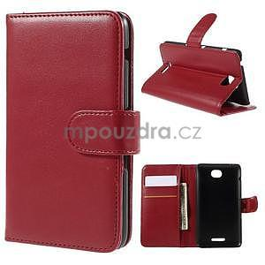 Peněženkové PU kožené pouzdro na Sony Experia E4 - červené - 1