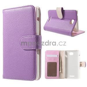 Koženkové pouzdro pro Sony Xperia E4 - fialové - 1