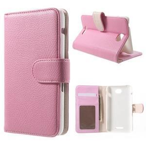 Koženkové pouzdro pro Sony Xperia E4 - růžové - 1