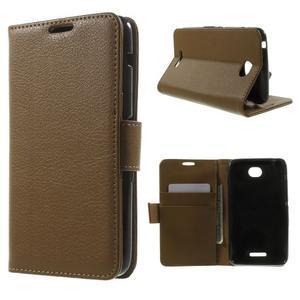 PU kožené peněženkové pouzdro na Sony Xperia E4 - hnědé - 1