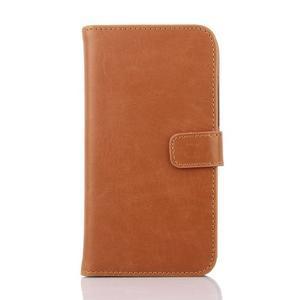 PU kožené PU peněženkové pouzdro na Sony Xperia E4 - hnědé - 1