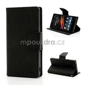 Peněženkové PU kožené pouzdro na Sony Xperia Z - černé - 1