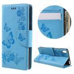 Butterfly PU kožené pouzdro na Sony Xperia E5 - světledmodré - 1/7