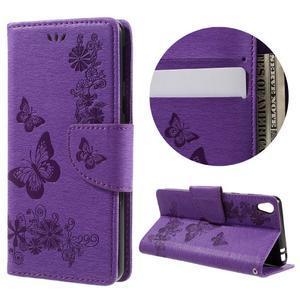 Butterfly PU kožené pouzdro na Sony Xperia E5 - fialové - 1