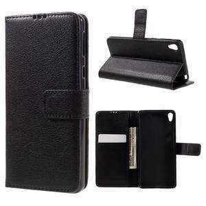 Leathy PU kožené pouzdro na Sony Xperia E5 - černé - 1