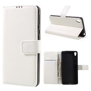Leathy PU kožené pouzdro na Sony Xperia E5 - bílé - 1