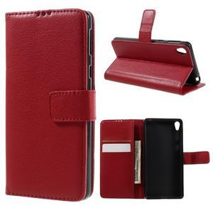 Leathy PU kožené pouzdro na Sony Xperia E5 - červené - 1