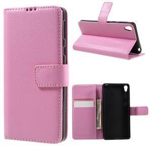 Leathy PU kožené pouzdro na Sony Xperia E5 - růžové - 1