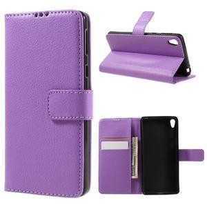 Leathy PU kožené pouzdro na Sony Xperia E5 - fialové - 1