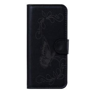 Motýlkové PU kožené pouzdro na mobil Sony Xperia E5 - černé - 1