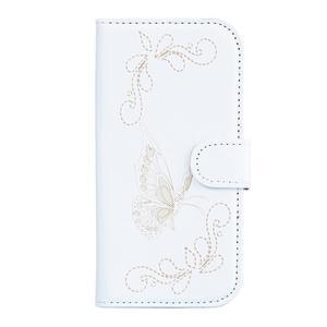 Motýlkové PU kožené pouzdro na mobil Sony Xperia E5 - bílé - 1
