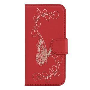 Motýlkové PU kožené pouzdro na mobil Sony Xperia E5 - červené - 1