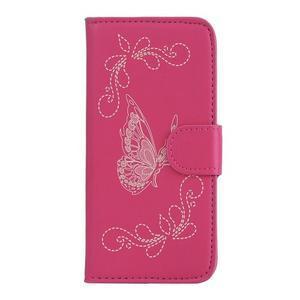 Motýlkové PU kožené pouzdro na mobil Sony Xperia E5 - rose - 1