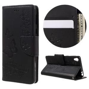 Butterfly PU kožené pouzdro na Sony Xperia E5 - černé - 1