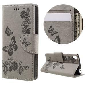 Butterfly PU kožené pouzdro na Sony Xperia E5 - šedé - 1