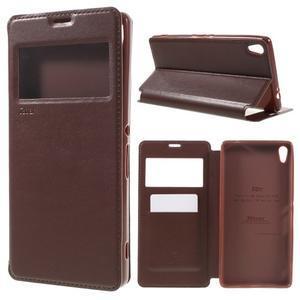 Richi PU kožené pouzdro s okýnkem na Sony Xperia XA Ultra - hnědé - 1