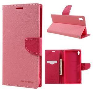 Diary PU kožené pouzdro na mobil Sony Xperia XA Ultra - růžové - 1