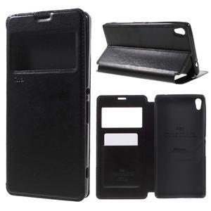 Richi PU kožené pouzdro s okýnkem na Sony Xperia XA Ultra - černé - 1