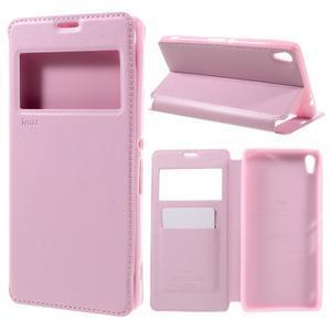 Richi PU kožené pouzdro s okýnkem na Sony Xperia XA Ultra - růžové - 1