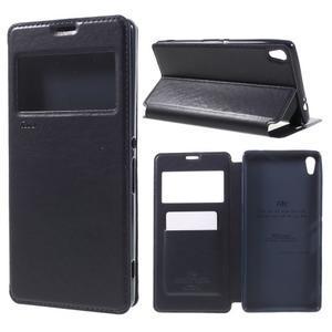 Richi PU kožené pouzdro s okýnkem na Sony Xperia XA Ultra - tmavěmodré - 1