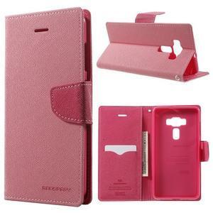 Diary PU kožené pouzdro na mobil Asus Zenfone 3 Deluxe - růžové - 1