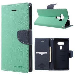 Diary PU kožené pouzdro na mobil Asus Zenfone 3 Deluxe - azurové - 1