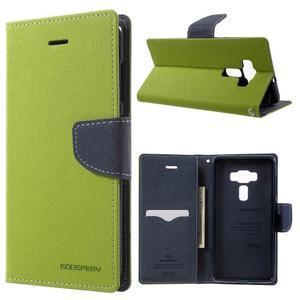 Diary PU kožené pouzdro na mobil Asus Zenfone 3 Deluxe - zelené - 1
