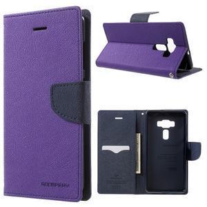 Diary PU kožené pouzdro na mobil Asus Zenfone 3 Deluxe - fialové - 1
