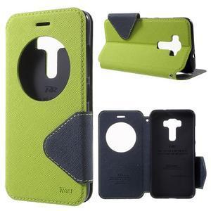 Diary pouzdro s okýnkem na mobil Asus Zenfone 3 ZE520KL - zelené - 1