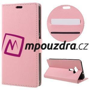 Leathy peněženkové pouzdro na Asus Zenfone 3 ZE520KL - růžové - 1