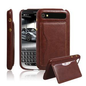 PU kožený kryt se stojánkem na BlackBerry Classic - hnědé - 1