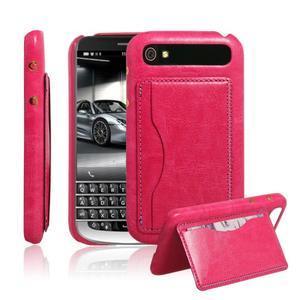 PU kožený kryt se stojánkem na BlackBerry Classic - rose - 1