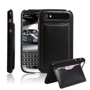 PU kožený kryt se stojánkem na BlackBerry Classic - černé - 1