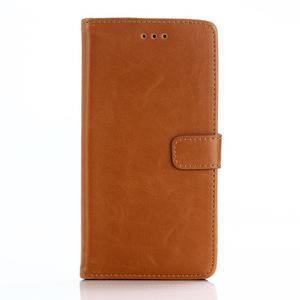 PU kožené peněženkové pouzdro na BlackBerry Leap - hnědé - 1